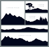 Set of mountains silhouette backgrounds. Stylish cards in outdoor style. Travelling and environment. Vector templates for business cards, greetings, prints, web design, invitations and banners. - 209868347