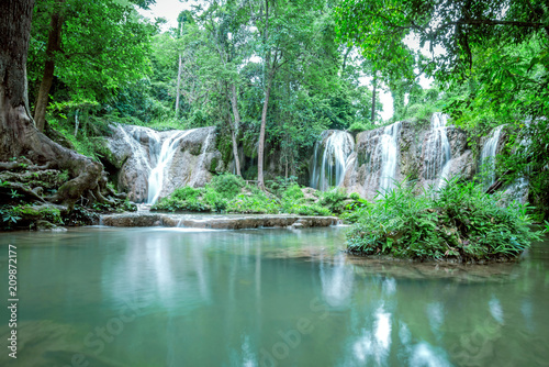 Thanawan Waterfall beautiful There is water throughout the year. The water is emerald green. Located in Doi Phu Nang National Park, Phayao, Thailand. Waterfall nature landscape © wittaya