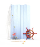 A vintage nautical banner with a rudder 3d model  - 209876340