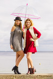 Two fashionable women and umbrella - 209880750