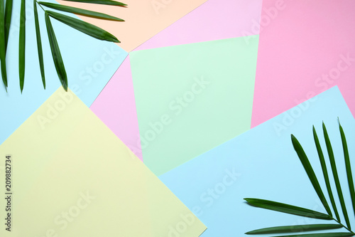 Foto Murales Creative minimal summer idea. Green leaf branches. Palm leaves on pastel colors. Tropical exotic background with empty space for text. Concept creative art. Flat lay, top view.