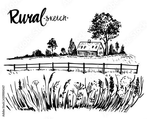 Fotobehang Wit Rural landscape