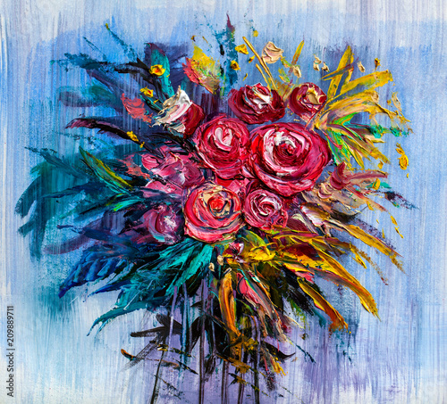 Fototapeta Oil painting a bouquet of roses . Impressionist style.