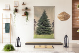 Black lanterns, wooden ladder, tatami mat and tree graphic in minimal interior with asian design. Real photo - 209890961