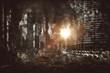 Fiery explosion between city skyscrapers