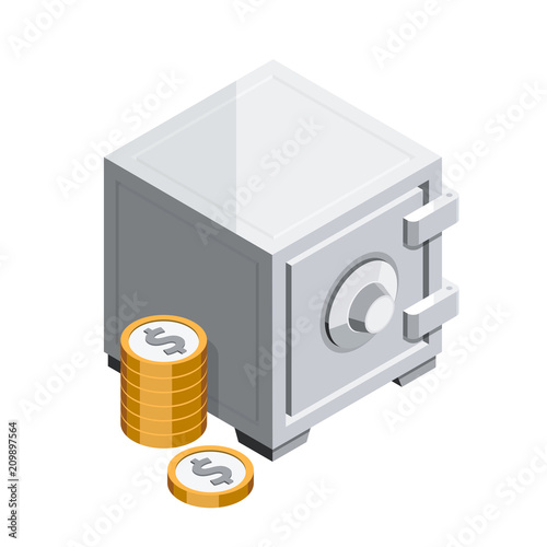 Vault and coins 3D isometric
