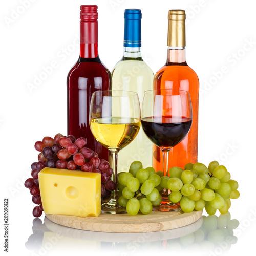 Leinwanddruck Bild Wein Käse Weine Weißwein Weisswein Rotwein Rose Quadrat Weintrauben Trauben isoliert Freisteller