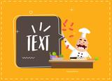 Fat Cartoon Chef cooking class Flat Vector Illustration Design - 209898510