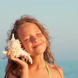 Girl on sea background