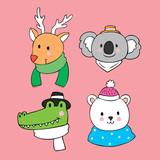 Cartoon cute face animals vector. - 209906769