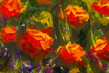 Red poppies textured blossoms with a palette knife closeup on background. Original oil painting of flowers,beautiful field flowers on canvas. Modern Impressionism. Impasto artwork. - 209907154
