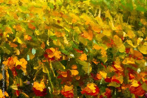 Aluminium Honing Oil painting of a poppy field. Summer flowers red field. Modern art - impressionism, texture.