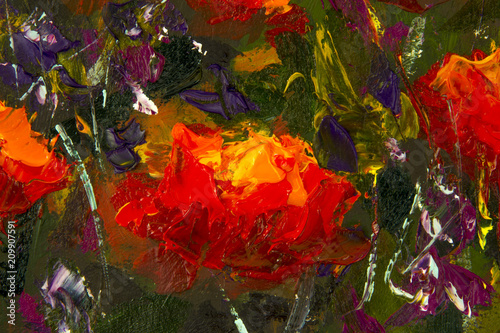 Fototapeta Original handmade abstract oil painting bright flowers made palette knife. Red, yellow, orange abstract flowers. Macro impasto painting.