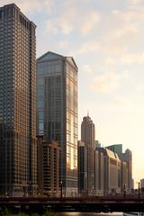 Buildings at Chicago river shore and bridge of Wabash Avenue, Chicago, Illinois, USA