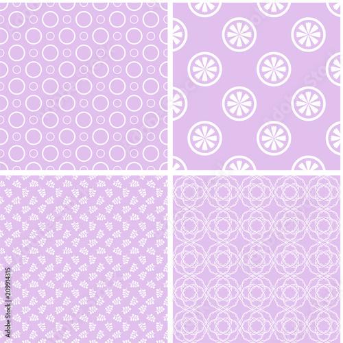 Fototapeta 4 retro different seamless patterns.