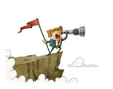 businessman standing on top of a mountain with a flag and looking into the telescope, business concept success. isolated. - 209922708