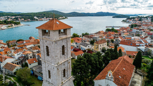 Foto Murales Sibenik town with church and Adriatic sea, aerial shot with drone, Croatia