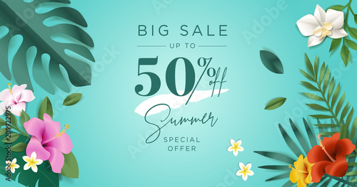Summer sale. Vector illustration concept for mobile and web banner, poster, online shopping ads, social media and networking, marketing material. - 209922975