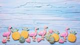 Flamingo ananas cookies - 209927384