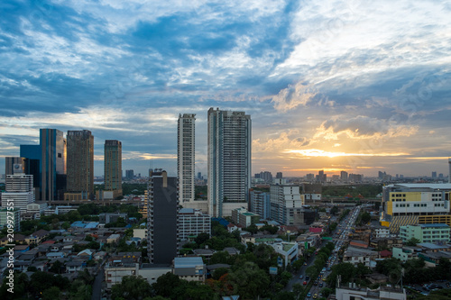 cityscape view of beautiful sky blue and orange color and building.Landscape sunset scene.
