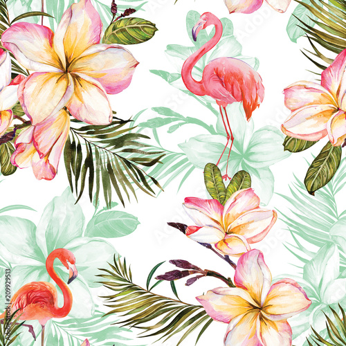 Beautiful flamingo and pink plumeria flowers on white background. Exotic tropical seamless pattern. Watecolor painting. Hand painted illustration. © katiko2016