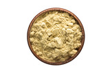cardamom powder spice in wooden bowl, isolated on white background. Seasoning top view - 209931198