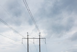 High voltage wooden electricity poles 3 - 209936722