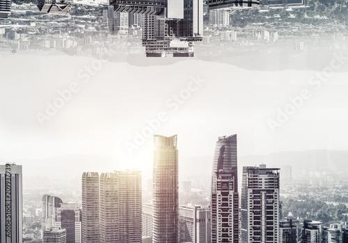 Fridge magnet Modern cityscape view.