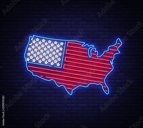 Usa Map And Flag Neon Vector Sign Usa Map Symbol Banner Light - Us-map-night