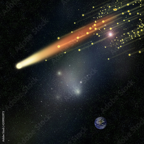放射 彗星 流星 放射光 光線 閃光 サイエンス 銀河 宇宙 星雲