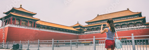 Foto Spatwand Peking Forbidden City Asia travel tourist in Beijing, China summer vacation banner panorama lifestyle. Asian woman taking picture with phone of Beijing touristic attraction, famous chinese landmark.