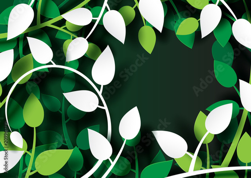 Fototapeta Tropical plants with green leaves creative origami paper cut layout template abstract background.Vector illustration.
