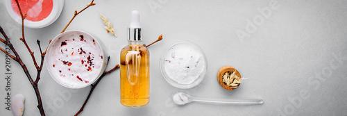 Organic bio cosmetics with herbal ingredients .Natural extract of amber, gold. Oils serum .handmade - 209962391