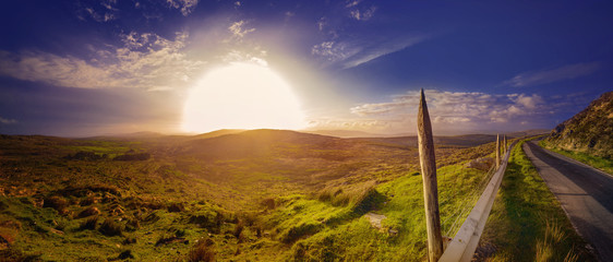 Panoramic hazy sunset in a county Kerry © agephotography