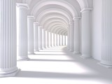 Fototapeta Fototapety do przedpokoju - Long corridor interior. 3D Rendering. illustration © Akhmed