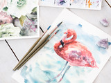 art painting skills. beautiful watercolor drawing of flamingo. work of a gifted painter. - 209967973