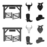 Gates, a bull skull, a scarf around his neck, boots with spurs. Rodeo set collection icons in black,monochrome style vector symbol stock illustration web. - 209974998