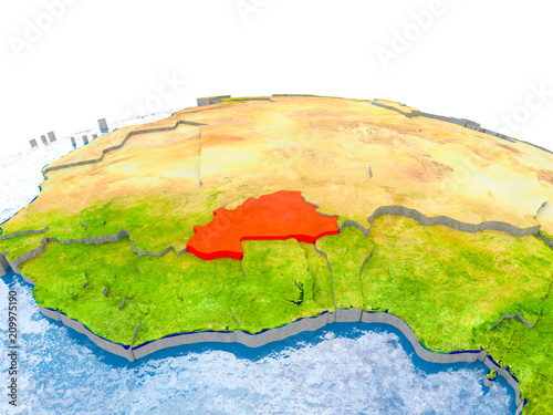 Burkina Faso on model of Earth