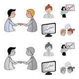 Businesswoman, growth charts, brainstorming.Business-conference and negotiations set collection icons in cartoon,monochrome style vector symbol stock illustration web. - 209975509