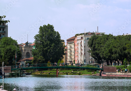 Fotobehang Milan the Darsena is the artificial lake of Milan where you can spend some relaxing hours,italy