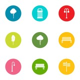 Grove icons set. Flat set of 9 grove vector icons for web isolated on white background - 209981759