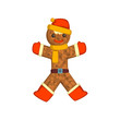 Gingerbread man, Holiday cookie Christmas character with funny face vector Illustration on a white background