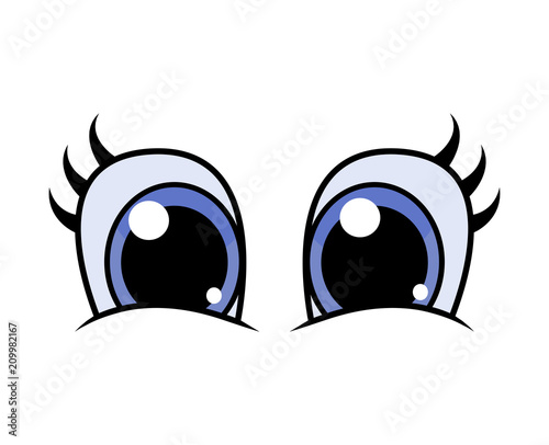 cartoon character eyes with lashes vector design isolated on white - 209982167