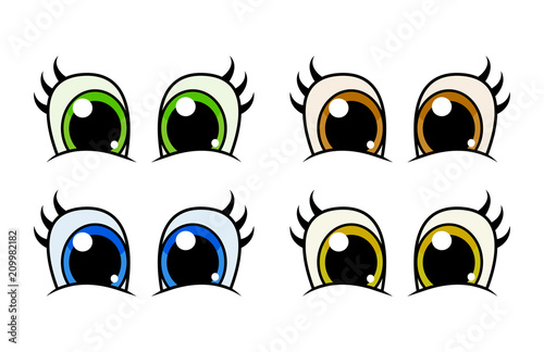 cartoon character eyes with lashes set vector design isolated on white - 209982182