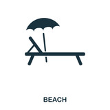 Sunbed icon. Mobile app, printing, web site icon. Simple element sing. Monochrome Sunbed icon illustration. - 209984138