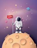 Astronaut with Flag on the moon - 209984959