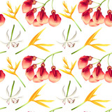 Seamless Pattern of Colorful Tropical Flowers - 209986372