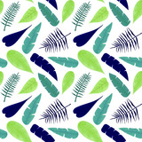 Seamless Pattern of Blue and Green Leaves - 209986375