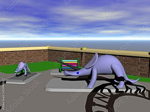 Fotobehang Amusementspark Freizeitpark mit Dinosauriern
