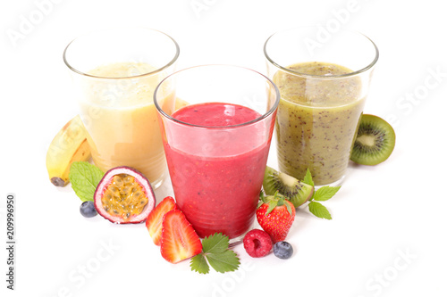 fruit smoothie isolated on white background - 209996950